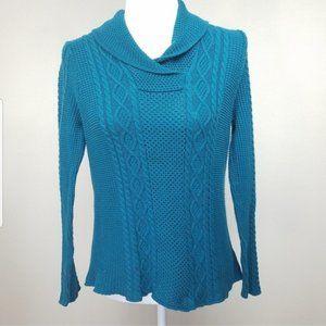 Jeanne Pierre Teal Knit Sweater Sz. L